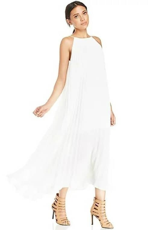 Off-shoulder Pleated Maxi White Dress from: Romwe