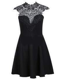 Contrast Hollow Lace Pleated Dress