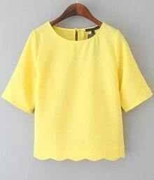 Scalloped Crop Yellow T-Shirt