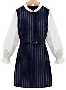 Stand Collar Vertical Stripe Dress