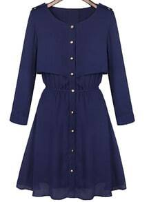 Epaulet Buttons Navy Dress