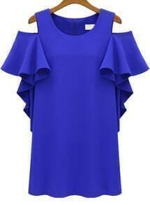 Off-shoulder Ruffle Sleeve Blue Dress