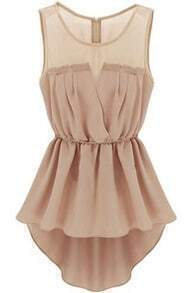 Back Zipper Bandeau High Low Pink Dress