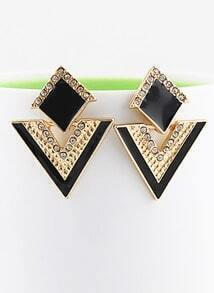 Black Triangle Gold Crystal Earrings