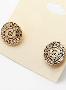 Gold Round Stud Earrings