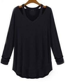 V Neck Hollow Black T-Shirt