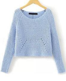 Hollow Crop Knit Blue Sweater