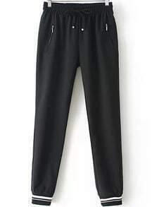 Elastic Drawstring Waist Pockets Pant