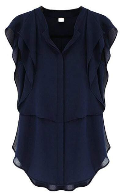 V Neck Ruffles Sleeve Chiffon Navy Blouse pictures