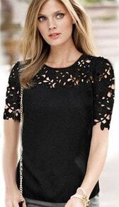 Hollow Floral Crochet Black Blouse