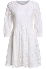 Hollow Lace Pleated White Dress