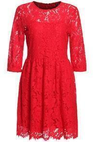 Hollow Lace Pleated Red Dress