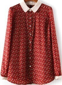 Houses Print Loose Red Blouse