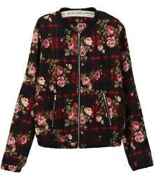 Floral Check Print Crop Jacket