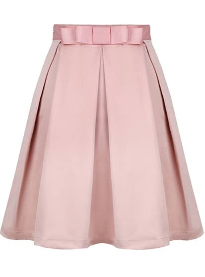 Bow Pleated Pink Skirt
