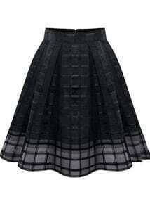 Zipper Plaid Pleated Chiffon Skirt