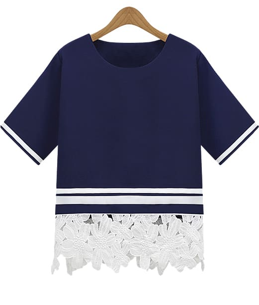 Floral Crochet Loose T-Shirt