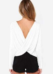 Backless Pleated Slim White T-Shirt
