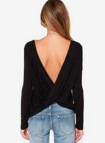 Backless Pleated Slim Black T-Shirt