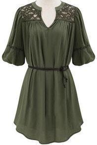 V Neck Half Sleeve Lace Loose Dress