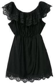 Off-shoulder Lace Black Dress