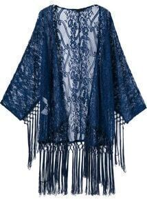 Sheer Lace Tassel Kimono