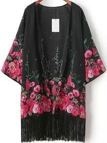 Floral Print Tassel Kimono