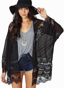 Sheer Lace Chiffon Kimono