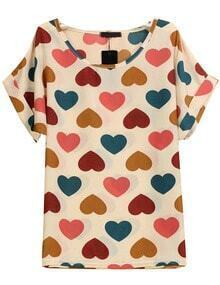 Hearts Print Chiffon Blouse