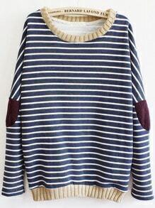 Striped Elbow Loose Blue sweatshirt