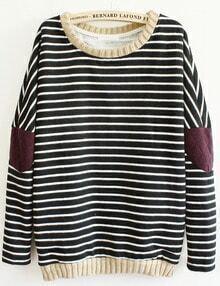 Striped Elbow Loose Black sweatshirt