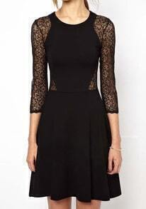 Round Neck Lace Hollow Silm Dress