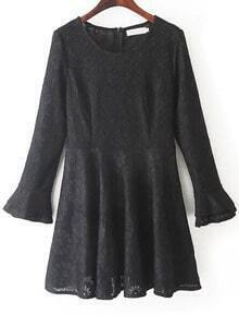 Flouncing Lace Black Dress