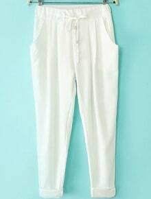 Drawstring Waist Pockets White Pant