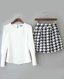Round Neck Slim White Top With Houndstooth Skirt