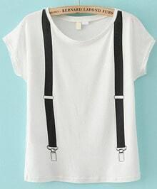 Strap Print White T-Shirt