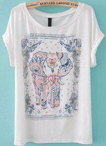 Elephant Print White T-Shirt