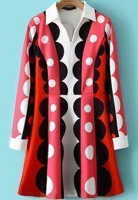 Polka Dot Lapel Slim Dress