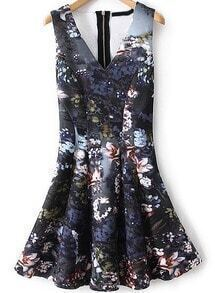 V Neck Floral Print Flouncing Dress