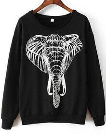 Elephant Print Black Sweatshirt