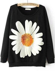 Sunflower Print Loose Black Sweatshirt