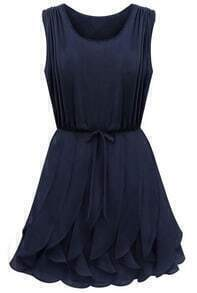 Sleeveless Flouncing Drawstring Blue Dress