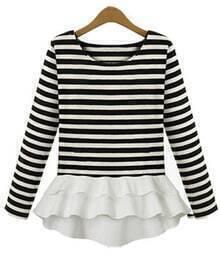 Striped Contrast Flouncing T-Shirt