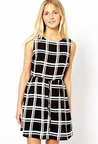 Check Print Sleeveless Dress