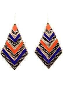 Blue Orange Stripe Vintage Gold Geometric Dangle Earrings