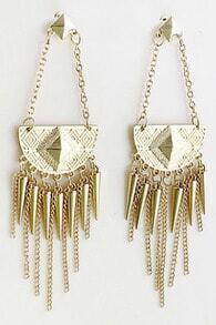 Gold Spike Chain Tassel Earrings