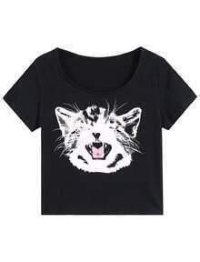 Cat Print Black T-Shirt