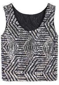 Sleeveless Sequined Geometric Silver Vest