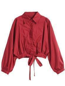 Lapel Loose Crop Wine Red Blouse