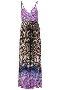 Spaghetti Strap Leopard Coffee Maxi Dress